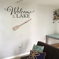 Amazon Com Welcome To The Lake Vinyl Wall Decal By Wild Eyes Signs Family Photo Wall Decal Living Room Entry Way Cabin Lake Lakehouse Beach Wall Wording For Door Vinyl Lettering Hh2074 Handmade