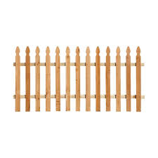 Outdoor Essentials 3 1 2 Ft X 8 Ft Western Red Cedar Spaced Picket French Gothic Fence Panel Kit 239708 The Home Depot