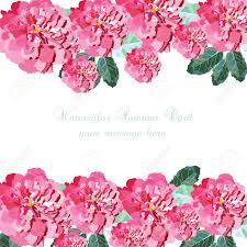 Acuarela Tarjeta Rosa Rosa Flores Frontera Floral Para El Fondo