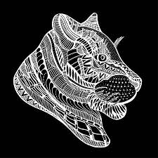 Vector Geisoleerd Beeld Van Leopard Hoofd Zentanglestijl Zwarte