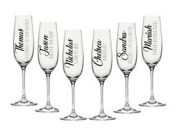 Amazon Com Wedding Party Decals Champagne Flute Decals Customize Color Name Title Decal Only For Your Wine Glasses Flasks Yeti Cups Bridesmaids Gift Water Bottle Etc Metallic Chrome Glitter Options Handmade