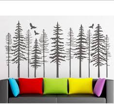 Amazon Com Mrqxdp Large Pine Tree Forest Wall Decals Tree Wall Decals Modern Nature Decor Pine Tree Silhouette Wall Sticker Living Decor 150x280cm Murales Wallpaper Pared Dormitory Decoration Kitchen Dining