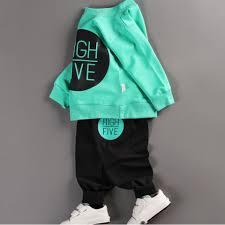 Mua Bộ quần áo bé gái dài tay in hình HIGH FIVE thời trang - BG02 (Áo xanh  - quần đen) giá chỉ 139.000₫