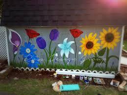 Flowers Painted On Garden Shed Garden Wall Art Flower Mural Outdoor Wall Art