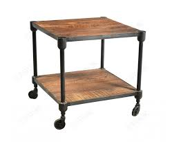 iron and reclaimed timber side table