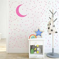Amazon Com Melissalove Moon And 190 Stars Constellation Wall Decal For Kids Bedroom Removable Decoration Outer Space Nursery Sticekrs Zodiac Astronomy Art Mural Decor Zb162 Light Pink Arts Crafts Sewing