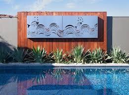 Outdoor Ocean Metal Wall Art Fish Wave Set Of 2 Panels