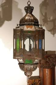 light fixture with colored glass