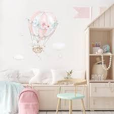 Fabric Wall Decal Hot Air Balloon Fox And Bunny Wall Decal Etsy