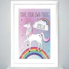 unicorn white framed poster print