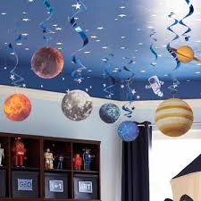 10pcs Planet Space Theme Party Decoration For Home Pattern Paper Hanging Swirls Supply Kids Cosmos Outer Space Birthday Decor Party Diy Decorations Aliexpress