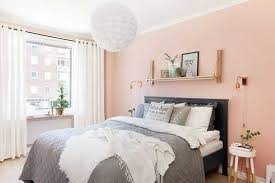 with peach walls