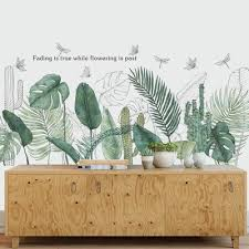 Greenery Leaf Wall Decal Green Plants Tropical Plant Home Decor Art Wallpaper Removable Vinyl Wall Sticker Living Room Bedroom Thefuns On Artfire