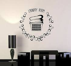 Vinyl Wall Decal Laundry Room Basket Clothes Bubbles Stickers Mural Ig5148 Ebay