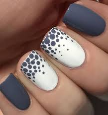 blue and white dotted nail art design