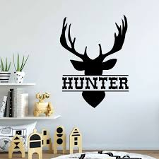Vinyl Custom Name Wall Decal Antler Decoration Boy Room Decoration Hunting Theme Woodland Children S Room Decoration Diy14 Wall Stickers Aliexpress