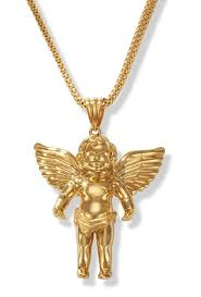angel cherub pendant in 14k yellow gold