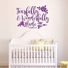 Amazon Com Battoo Fearfully And Wonderfully Made Wall Decal Religious Quote Decals Bible Verse Decal Scripture Wall Decal Psalm Wall Decal Nursery Bedroom Decal 30 W By 21 5 H Purple Furniture Decor