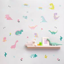 Cartoon Dinosaur Wall Sticker Kids Room Nursery Bedroom Living Room Mural Art Vinyl Decals Macaron Kindergarten Diy Wallpaper Ho Wall Stickers Aliexpress