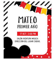 Invitacion Cumpleanos Mickey Mouse Fiesta Disenos Personalizados