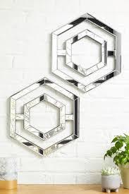 set of 2 hexagon mirror plaques
