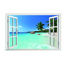 Amazon Com Removable Beach Sea 3d Window View Scenery Wall Sticker Decor Decal Baby