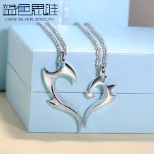 blue sweet couple necklaces fire half