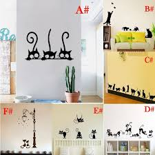 6 Style Lovely Black Cute Cats Fashion Wall Sticker Funny Cat Wall Stickers Girls Vinyl Home Decor Cute Cat Living Room Children Room Decal Wish