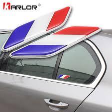 2pcs Set Car Styling 3d Aluminum French Flag Logo Leaf Side Emblem Badge Decal Car Stickers For Citroen Peugeot Renault Ds Car Sticker Car Decal Stickersticker For Car Aliexpress