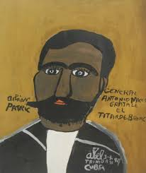 """Abel Perez-Mainegra #1848. """"General Antonio Maceo,"""" 1999. Acrylic on  posterboard. 14.5 x 12 inches. - Center for Cuban Studies"""