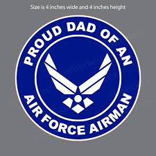 Proud Dad Of An Air Force Airman Military Usaf Bumper Sticker Window Decal