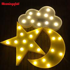 3d Led Night Light Battery Operated Star Moon Cloud Desktop Kids Room Decor Home Garden Night Lights