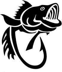 Amazon Com Wickedgoodz Bass Fish Hook Vinyl Decal Transfer Fishing Sticker Gold White Or Black 5 And 8 Black 8 Automotive