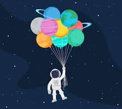 Astronaut cartoon floating with balloon planets in space - Download Free  Vectors, Clipart Graphics & Vector Art