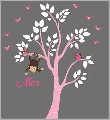 Girls Wall Decals Pink Tree Decal Monogrammed Wall Decals Nurserydecals4you