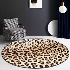 Round Leopard Printed Carpet Shoebox Rugs Decor Bedside Kids Play Area Rug Doormat Chair Mat Home Decor Carpets For Living Room Carpet Aliexpress