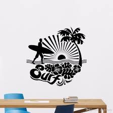 Surfing Wall Decal Removable Sports Sea Palms Surfer Vinyl Sticker Palm Tree Surfer Man Wall Art Mural Gym Decor Poster Mirror Wall Decals Mirror Wall Stickers From Joystickers 12 39 Dhgate Com
