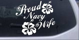 Proud Navy Wife Hibiscus Flowers Car Or Truck Window Decal Sticker Rad Dezigns