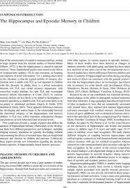 The Hippocampus and Episodic Memory in Children | Journal of the ...