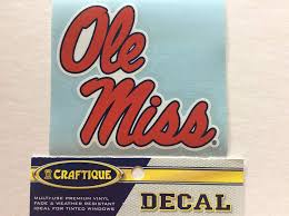 Amazon Com Craftique Ole Miss Rebels Premium Vinyl Sticker 4 Decal Bumper Car Truck Laptop Sports Outdoors