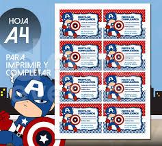 Tarjeta Cumpleanos P Imprimir Super Heroes Capitan America 100