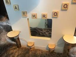 bathroom mirror with driftwood pieces