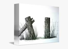Farm Drawing T Churl Fence Post Barbed Wire Ink Drawing Hd Png Download Kindpng