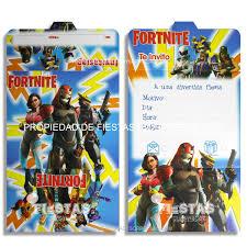 Tarjetas De Invitacion Fortnite Paquete X 12 Fiestas Y Sorpresas