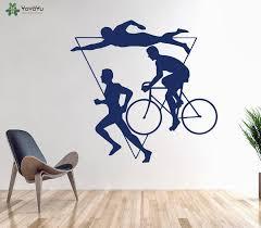 Sports Man Wall Decal Swimming Cycling Running Creative Pattern Design Vinyl Wall Stickers Gym Triathlon Multiple Art Muralsy199 Vinyl Wall Stickers Designer Wall Stickerswall Sticker Aliexpress