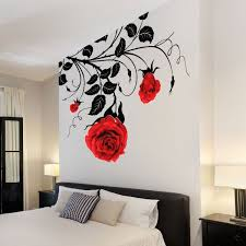 Large Flower Roses Wall Stickers Wall Decals Wall Graphics Vines Leafs Rose Wall Paint Designs Vinyl Wall Art Sticker Wall Art