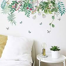 Amazon Com Peyan Removable Green Plant Wall Stickers Diy Green Leaves Wall Decals Hanging Tree Vine Wall Decor For Living Room Kids Girls Babys Bedroom Office Nursery Home Walls Decoration 27 523 6 Inch