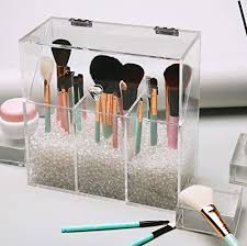 clear covered makeup brush holder