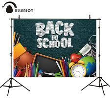 Allenjoy Photophone خلفية العودة إلى المدرسة السبورة قلم رصاص أبل طالب المعلم على مدار الساعة حقيبة مدرسية خلفيات حفلات كشك الصور Leather Bag