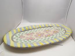 """MacKenzie-Childs Myrtle Long Oval Platter Tray or Wall Hanging, 21.5"""" x  10.5"""" 